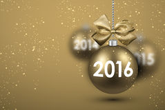 2016 New Year card. With gold balls. Vector Illustration Stock Illustration