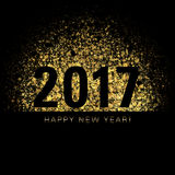 2017 New Year Card. Gold dust on a black background with New Year numerals Stock Illustration
