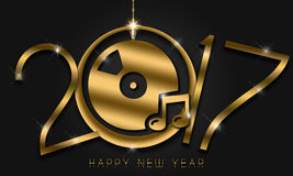 2017 New Year Card. Gold New Year numerals on a black background in a club theme Vector Illustration
