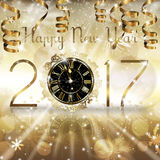 2017 New Year Card. Gold New Year numerals with a Clock and hanging gold ribbons Vector Illustration
