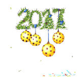 New Year Card with golden balls. New Year and Christmas Card with fir and pine branches and golden balls stock illustration