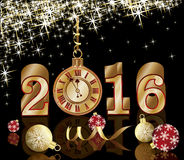 New 2016 year card with golden clock, vector. Illustration Stock Photos