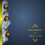 New year card with golden decor Royalty Free Stock Photos