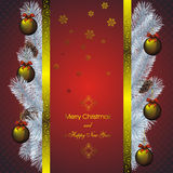 New year card with golden decor Stock Photos