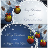 New year card with golden decor Royalty Free Stock Photography