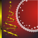 New year card with golden fir Stock Photo