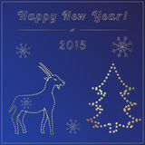 New year card with golden goat. New year card with golden symbol of the year and christmas tree Stock Photography