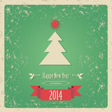 New year card 2014. Green color card  Happy New Year tree and star Royalty Free Stock Image