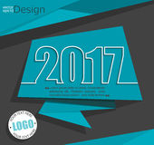 New 2017 year card. New 2017 year greeting business card made in origami style, vector Stock Photo