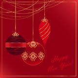 New Year card. Greeting card in red tones with golden decor vector illustration