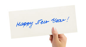 New Year card in hand Stock Images