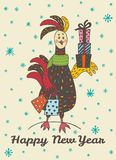 New Year card with hand drawn Rooster with gift shopping. 2017 Happy New Year greeting card with hand drawn Rooster with gift shopping. Vector hand drawn Royalty Free Stock Photography