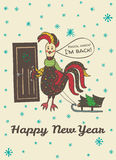 New Year card with hand drawn Rooster knocking at the door. 2017 Happy New Year greeting card with hand drawn Rooster knocking at the door 'I'm back'. Vector Royalty Free Stock Photos