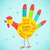 New Year 2017 card with hand print rooster design. Vector illustration of hand printed cute rooster with New Year 2017 messages and greetings Royalty Free Stock Photo