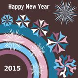 New year 2015 card. Happy new year 2015 card brown color Royalty Free Stock Photo