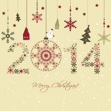 2014 New year card. 2014 New year. Happy holidays background with snowflakes, snow, houses and fir. 2014 made of snowflakes Stock Photo