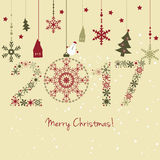 2017  New year card. 2017 New year. Happy holidays background with snowflakes, snow, houses and fir. 2017 made of snowflakes Royalty Free Illustration