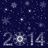 2014 New year card. 2014 New year. Happy holidays background with snowflakes and snow. 2014 made of snowflakes Royalty Free Stock Images