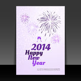 New Year Card - Happy New Year 2014. Abstract New Year Card, Flyer, Cover or Background Concept Design with Fireworks in the Snowfall in Freely Scalable and Vector Illustration