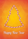 New year card, Happy new year. Christmas Candy effect, Christmas tree. Vector illustration on a bright orange background Royalty Free Stock Photo