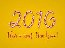 2016 New year card, Happy new year. Christmas Candy Text Effect. Candy cane digits. Vector illustration on a yellow background. Stock Photo