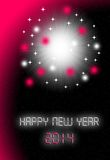 New year card 2014. Happy new year 2014 card in pink tones stock illustration