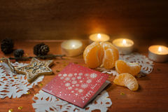 New year card with heart and candles Royalty Free Stock Photo