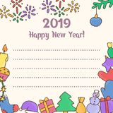 2019 New Year. Card for the holiday. Congratulatory postcard. Vector illustration Royalty Free Stock Photo