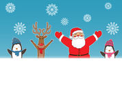 New year card for holiday design with Santa Claus, Reindeer and Penguins. Vector Royalty Free Stock Photo