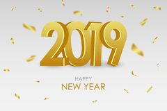 2019 New Year card. Holiday poster with gold 3d numbers and golden confetti. Vector. 2019 New Year card. Holiday poster with gold 3d numbers and golden confetti stock illustration