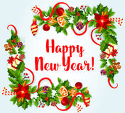 New Year card with holly and pine corners Royalty Free Stock Image