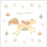 New Year card with a horse. New Year and Christmas card with a horse Vector Illustration