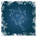 New Year card with horse framed by snowflakes Royalty Free Stock Photo
