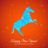 New Year card of Horse made of snowflakes. New year origami paper horse 2014 celebration card Royalty Free Stock Images
