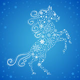 New Year card of Horse made of snowflakes. Stylized chinese New Year card of Horse made of snowflakes vector illustration