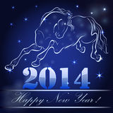 New 2014 year card. With horse outline Stock Photography