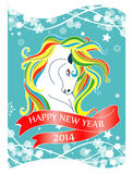 New Year 2014 card with horse and ribbon Royalty Free Stock Photos