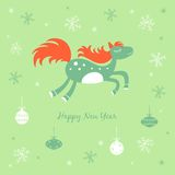 New Year card with a horse and snowflakes. New Year and Christmas card with a horse and snowflakes Royalty Free Illustration