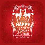 New year card with horses and snowflakes Stock Photography