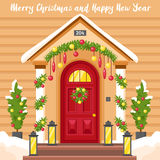New Year Card With House Decorated For Christmas Royalty Free Stock Images