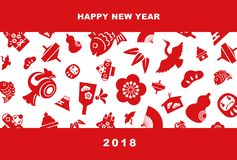2018 New Year card illustration. With pine leaf, bamboo leaf, plum flower, red snapper, crane, spinning top, hand fan, tumbling doll, Mt.Fuji and kite, New Year Royalty Free Stock Image