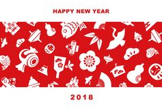2018 New Year card illustration. With pine leaf, bamboo leaf, plum flower, red snapper, crane, spinning top, hand fan, tumbling doll, Mt.Fuji and kite, New Year Royalty Free Stock Photo