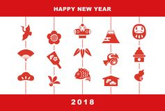 2018 New Year card illustration. With pine leaf, bamboo leaf, plum flower, red snapper, crane, spinning top, hand fan, tumbling doll, Mt.Fuji and kite, New Year Royalty Free Stock Photography