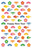 New year card with Japanese traditional design. Royalty Free Stock Photo
