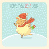 New Year Card with Lamb. Happy new 2015 year - card stock illustration