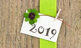 New Year 2019. New year card for the Year 2019 with Leafed clover on wooden background Stock Images