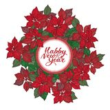 New year card with lettering and christmas star flowers pattern on white background vector illustration