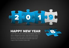 New Year card made from blue and white puzzle pieces. New Year card template made from blue and white puzzle pieces Stock Illustration