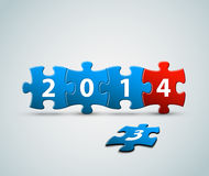 New Year 2014 card made from puzzle pieces. New Year 2014 card made from blue and red puzzle pieces vector illustration Royalty Free Stock Image