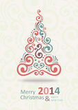 New Year Card. Merry Christmas lettering, vector illustration Royalty Free Stock Photo